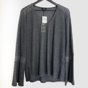 Lucky grey knit bell sleeve Sz XXL